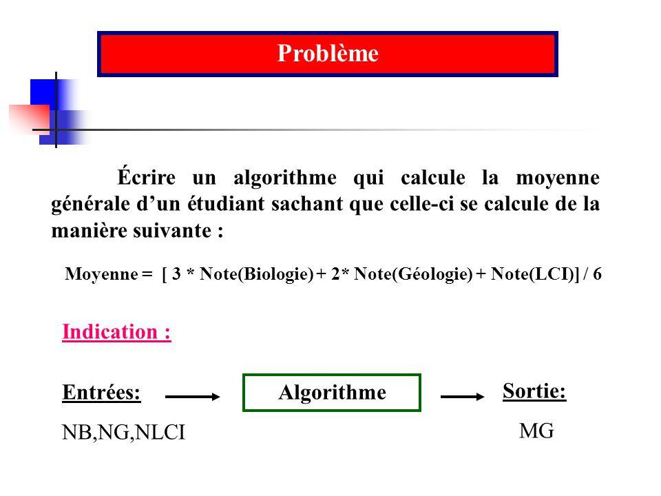 Moyenne = [ 3 * Note(Biologie) + 2* Note(Géologie) + Note(LCI)] / 6